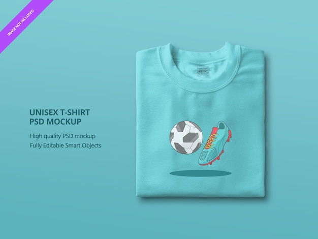 Gros plan sur la maquette de t-shirt plié bleu