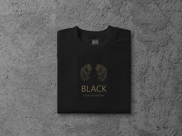 Gros plan sur la maquette de t-shirt plié noir