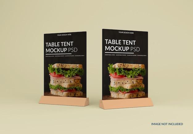 Gros plan sur une maquette de tente de table isolée