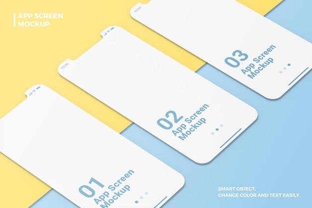 Gros plan minimaliste maquette de smartphone d'écran d'applications isométriques et prospectives