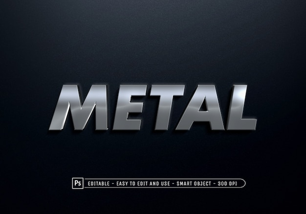 Gros plan sur le modèle d'effet de style de texte en métal