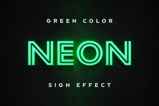 Gros plan sur le modèle d'effet de texte signe néon vert