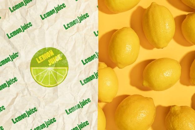 Gros plan, papier, à, citrons bio