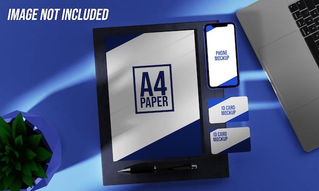 Gros plan sur papier avec maquette de téléphone et de carte d'identité
