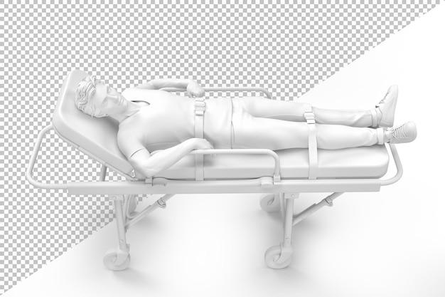Gros plan d'un patient sur une civière d'ambulance