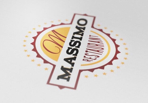 Gros plan photo maquette de logo réaliste