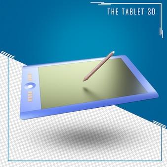 Gros plan sur le rendu 3d de tablette isolé