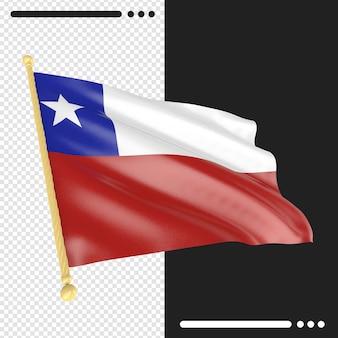 Gros plan sur le rendu du drapeau du chili isolé