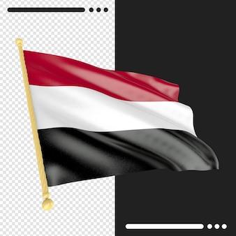 Gros plan sur le rendu du drapeau du yémen isolé
