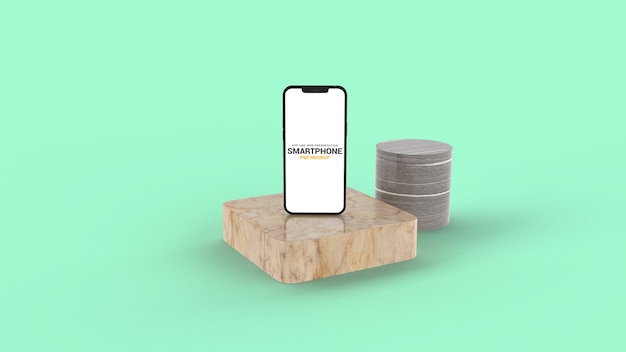 Gros plan sur smartphone sur maquette de podium en marbre