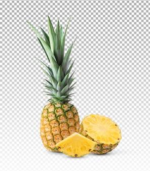 Gros plan sur les tranches d'ananas et d'ananas isolés