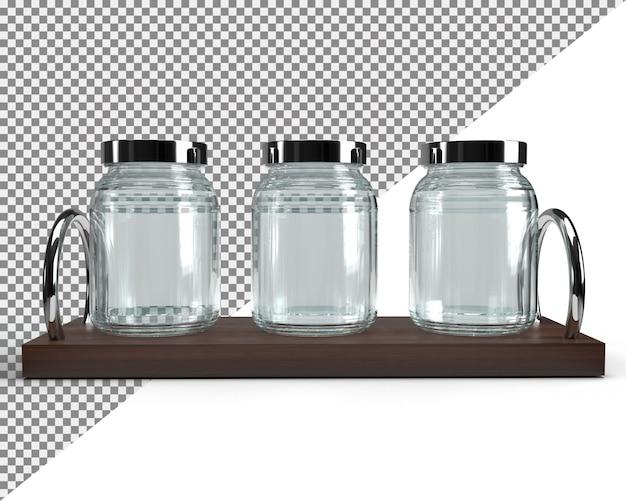 Gros plan sur le verre de bocal sur une grille en bois