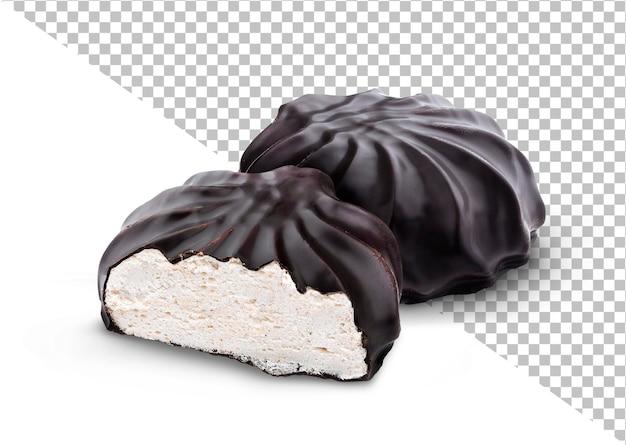Guimauves enrobées de chocolat isolées