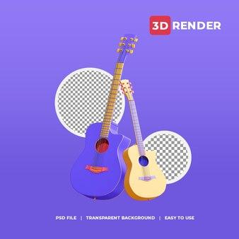 Guitares d'icône de rendu 3d