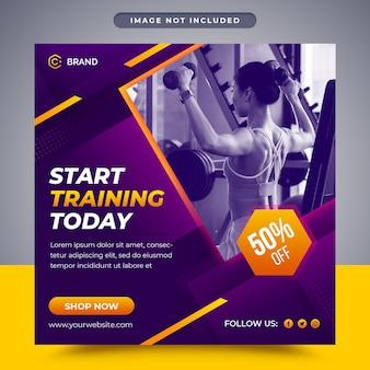 Gym et remise en forme promotionnel médias sociaux post et modèle de bannière web