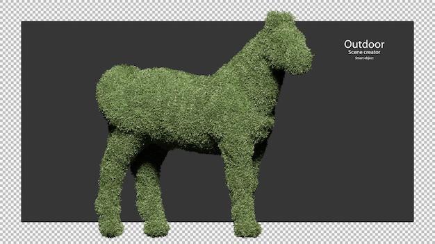 Haies de jardin en forme de cheval en rendu 3d isolé