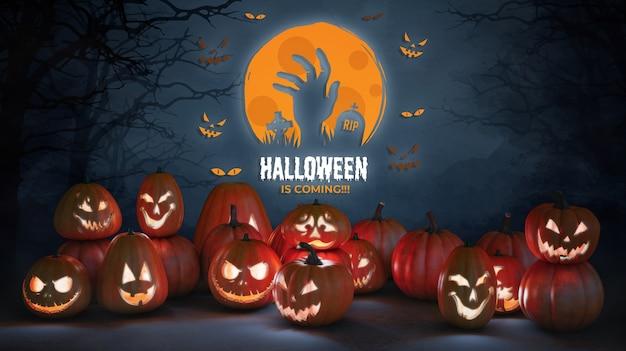 Halloween arrive maquette avec des citrouilles effrayantes