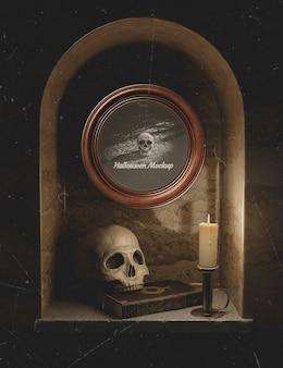 Halloween décoration noire avec des crânes et des bougies