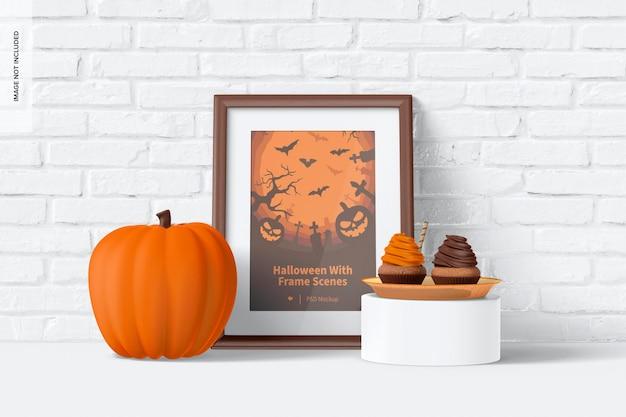 Halloween avec maquette de scène de cadre, penché