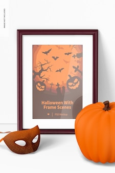 Halloween avec maquette de scène de cadre, vue de face