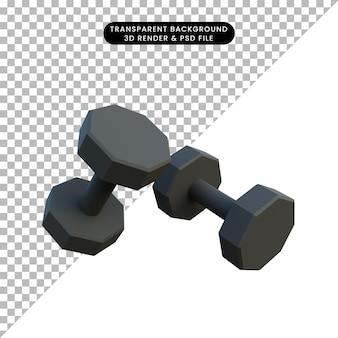 Haltère de sport d'objet simple illustration 3d