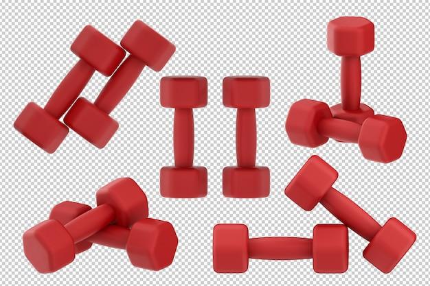Haltères rouges de rendu 3d isolés sur fond blanc