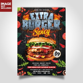 Hamburger extra spicy restaurant flyer gabarit