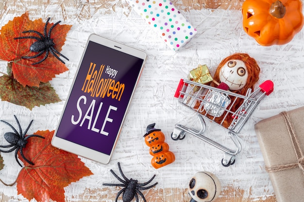 Happy halloween bannière de maquette smartphone vente
