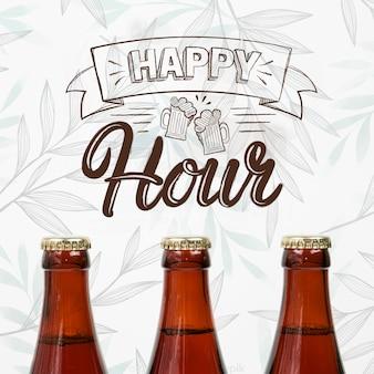Happy hour avec maquette de bière artisanale