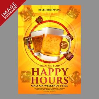 Happy hours pour le modèle de promotion de publication ou de flyer sur les réseaux sociaux du restaurant café bar