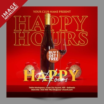 Happy hours pour le restaurant café bar modèle de promotion de publication ou de flyer sur les réseaux sociaux psd premium