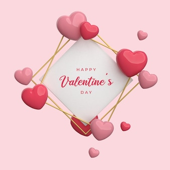 Happy valentine's day avec rendu de trame coeur 3d