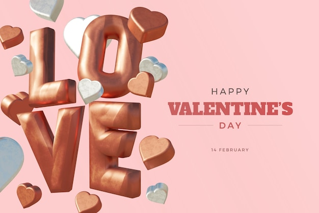Happy valentine's day with love 3d rendering bold maquette isolée