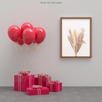 Happy valentines day celebration party avec décoration de boîte-cadeau