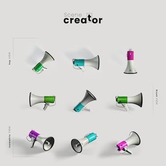 Haut-parleur en corne sous différents angles pour des illustrations de créateurs de scènes