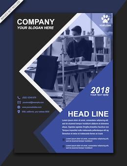 Headline flyer brochure bussiness moderne bleu noir - format a3