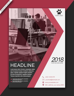 Headline flyer brochure bussiness moderne rouge - format a3