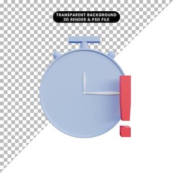 Heure de l'horloge de l'icône simple illustration 3d avec point d'exclamation