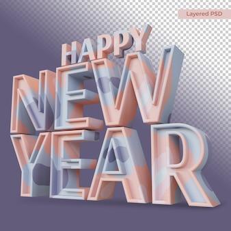 Heureuse nouvelle année lettre grasse rendu isolé