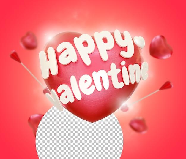 Heureux, Saint Valentin, Coeur, Amour, Isolé, Rendre PSD Premium