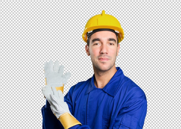 Heureux travailleur accueillant sur fond blanc