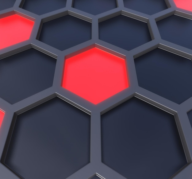 Hexagones sombres et néon rouge