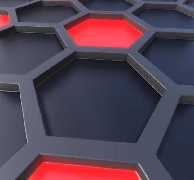 Hexagones sombres et néons