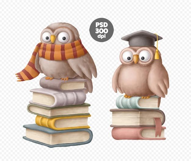Hiboux avec des livres clipart ensemble isolé