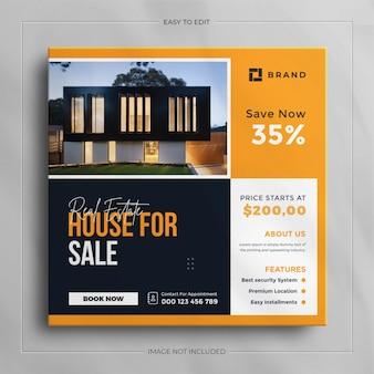 Histoire d'instagram de bannière de vente de médias sociaux carré de propriété de maison immobilière avec une maquette propre