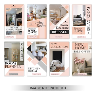 Histoire instagram ou bannière verticale pour le design d'intérieur de vente de meubles