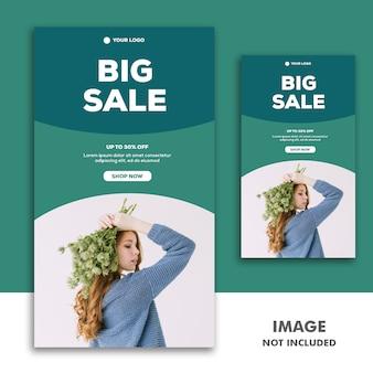 Histoire instagram de modèle de bannière de médias sociaux, vente de mode fille verte