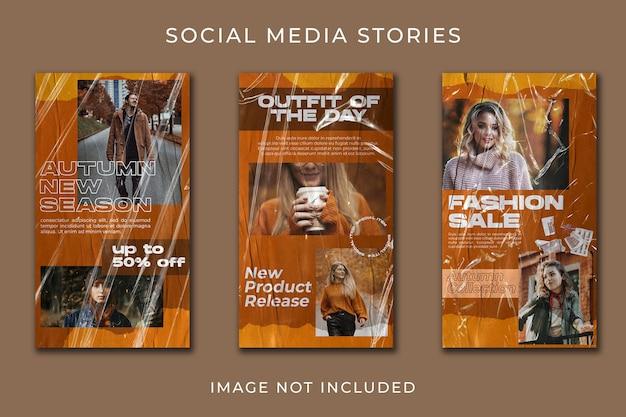 Histoire de médias sociaux pour l'ensemble de modèles de saison d'automne