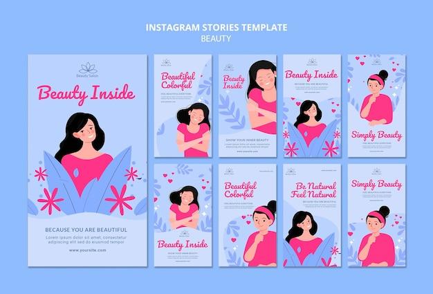 Histoires de beauté sur les réseaux sociaux illustrées
