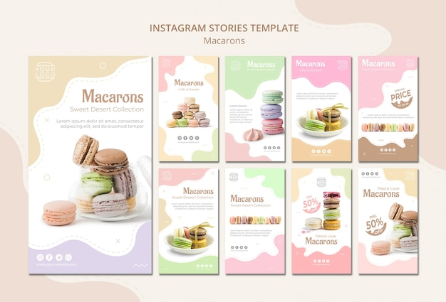 Histoires colorées de macarons français sur instagram